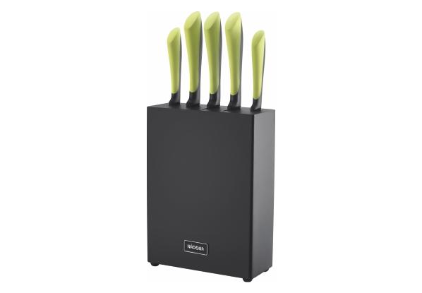 Набор из 5 кухонных ножей с блоком, NADOBA, серия JANA