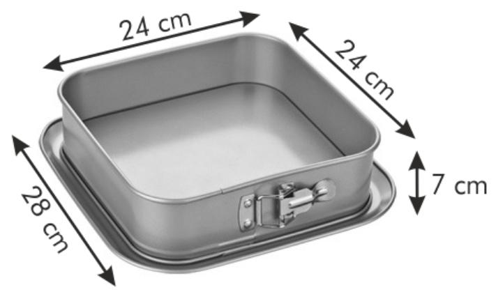Форма для торта раскладная квадратная DELICIA GOLD 24x24 см