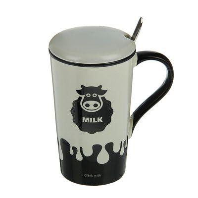 Кружка с ложкой и крышкой 350 мл Milk